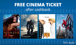 £10 Cashback on cinema tickets