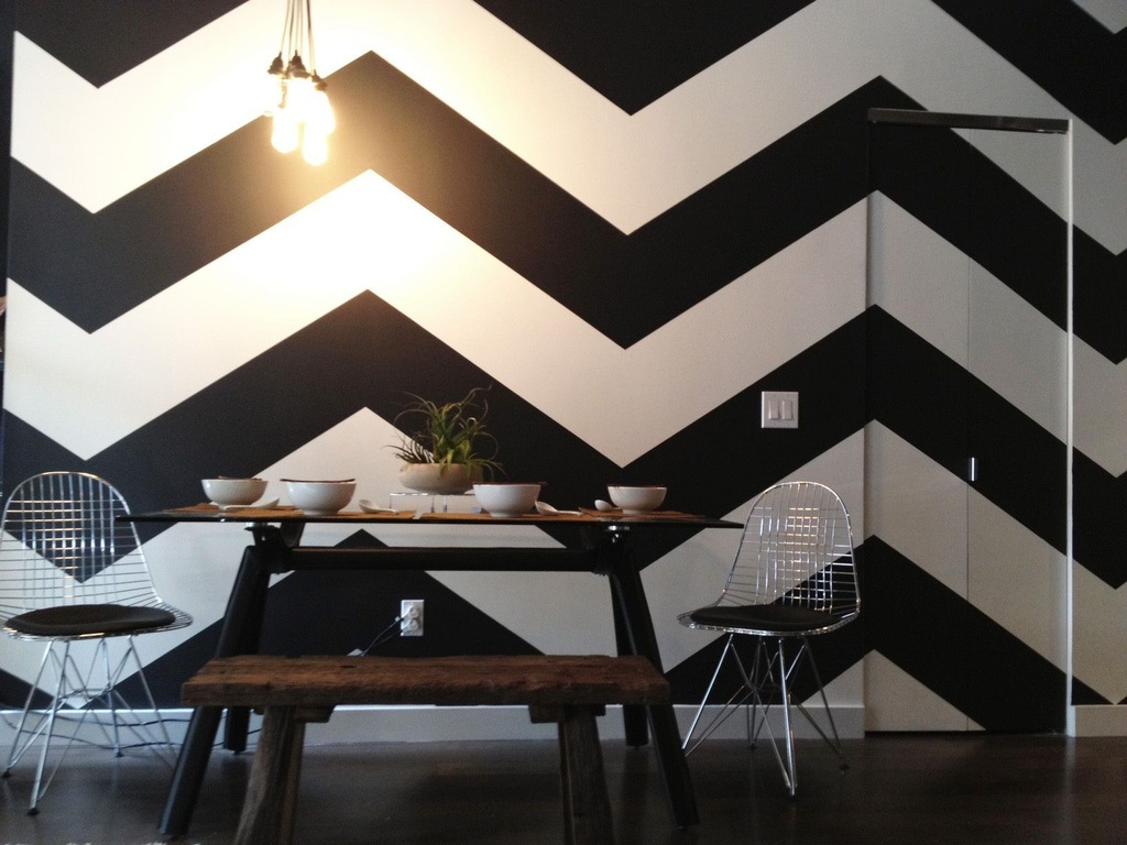 Chevron Walls and Upcycled Table