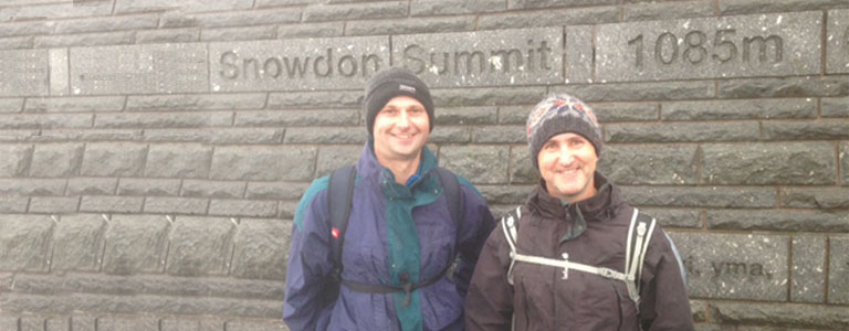 Mike & Olly at the Snowdon Summit