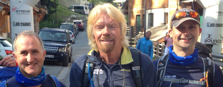Mike and Olly Strive with Richard Branson