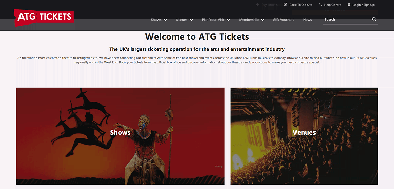 ATG Tickets Homepage Screenshot