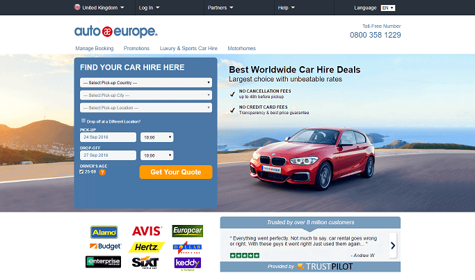 Auto Europe Homepage Screenshot