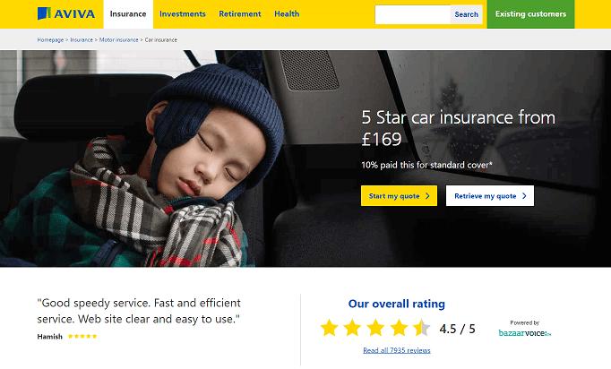 Aviva Car Insurance Homepage Screenshot