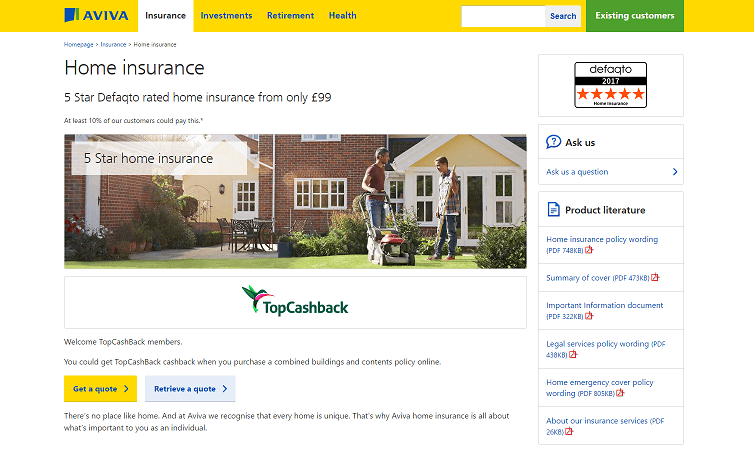 Aviva Home Insurance Homepage Screenshot