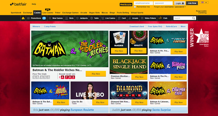 Betfair Homepage Screenshot