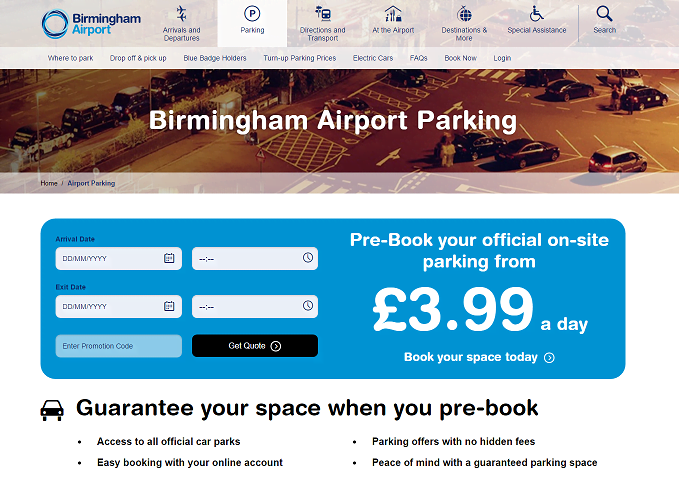 Birmingham Airport Parking Homepage Screenshot