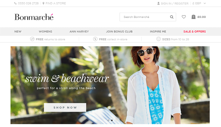 Bonmarche Homepage Screenshot