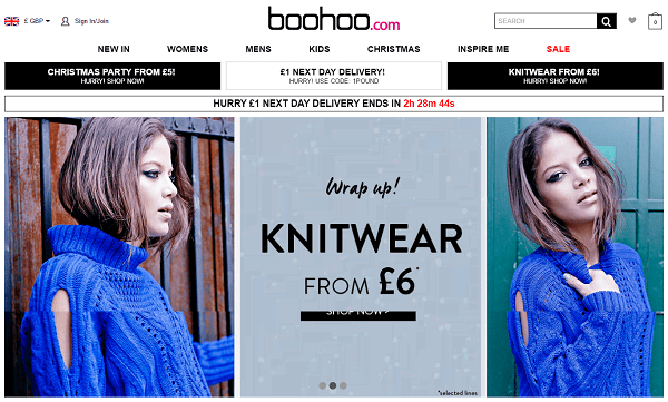 Boohoo.com Homepage Screenshot