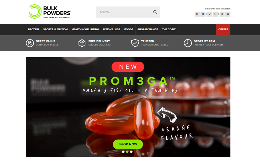 Bulk Powders Homepage Screenshot