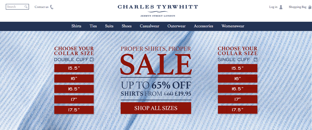 Charles Tyrwhitt Homepage Screenshot