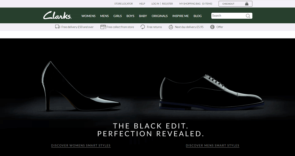 Clarks Homepage Screenshot