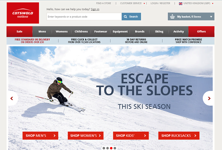 Cotswold Outdoor Homepage