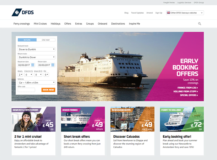 DFDS Homepage Screenshot