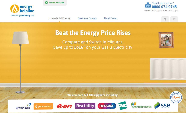 Energy Helpline Homepage Screenshot