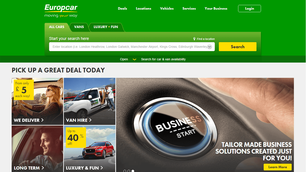 Europcar Homepage Screenshot