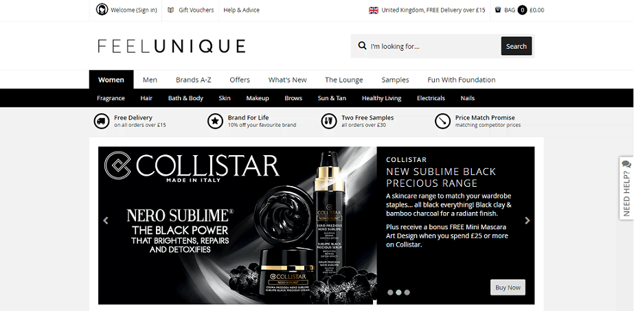 Feelunique Homepage Screenshot
