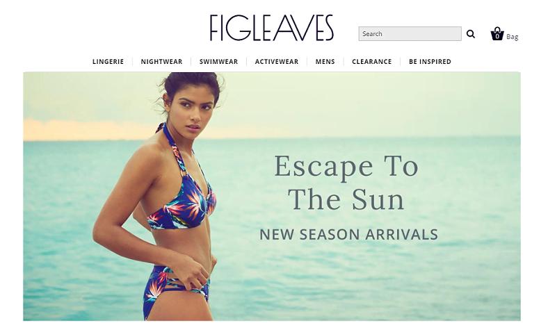 Figleaves Homepage Screenshot