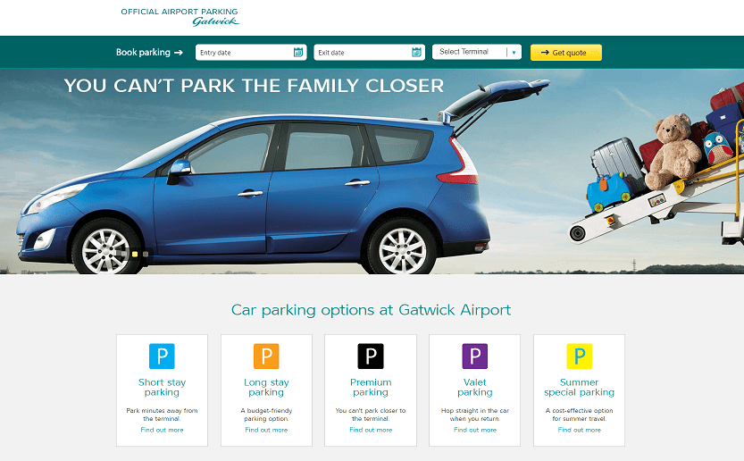 Gatwick Airport Parking Homepage Screenshot