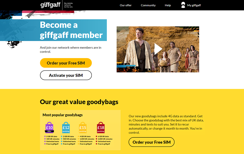 Giffgaff Homepage Screenshot