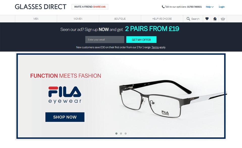 Glasses Direct Homepage Screenshot