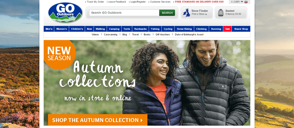 GoOutdoors Homepage Screenshot