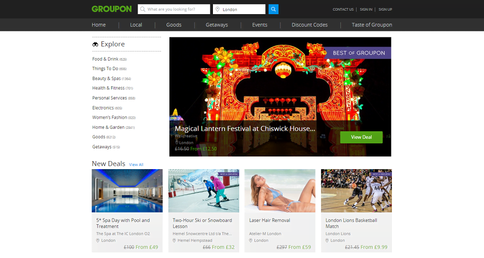 Groupon Homepage Screenshot