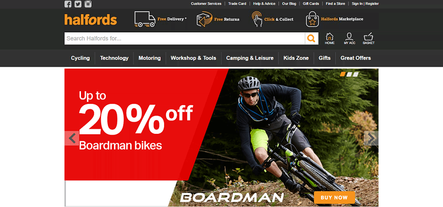 Halfords Homepage Screenshot