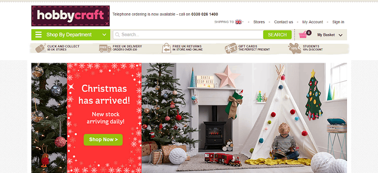 Hobbycraft Homepage Screenshot
