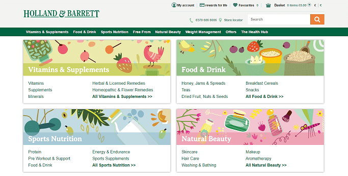 Holland and Barrett Homepage Screenshot