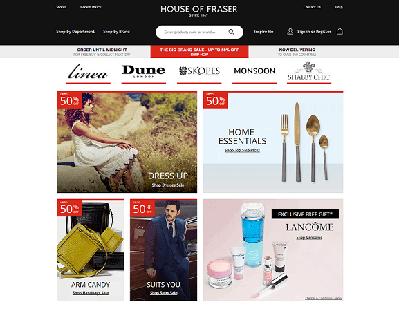 House Of Fraser Homepage Screenshot