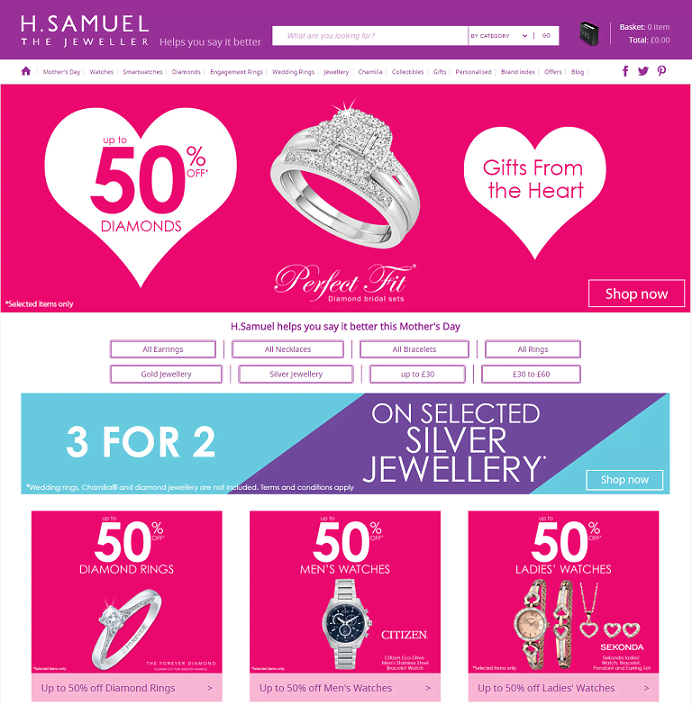 H.Samuel The Jeweller Homepage Screenshot
