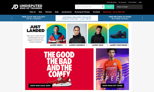 JD Sports Homepage Screenshot