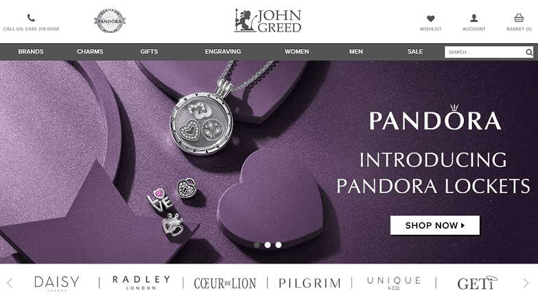 Johm Greed Jewellery Homepage Screenshot