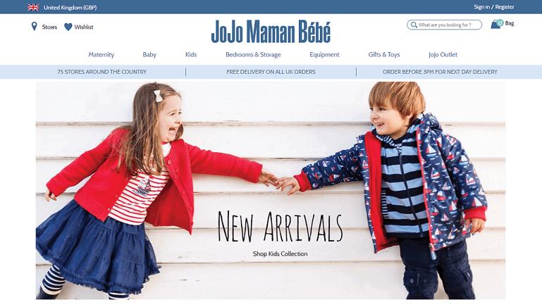 JoJo Maman Bebe Homepage Screenshot