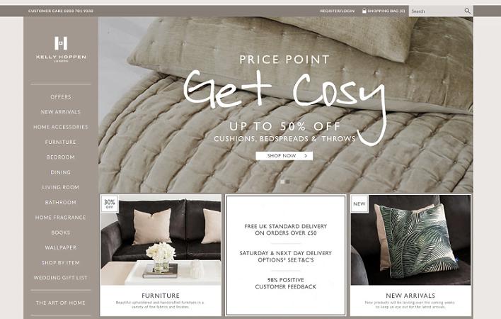 Kelly Hoppen Homepage Screenshot