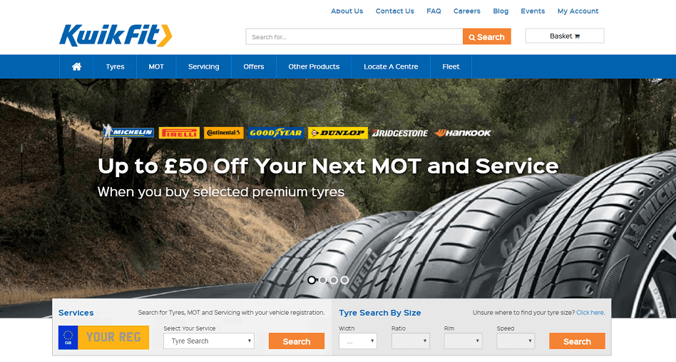 Kwikfit Homepage Screenshot