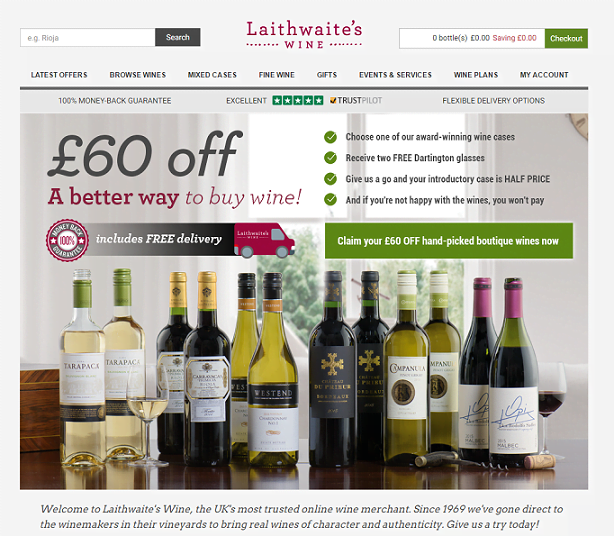 Laithwaites Wine Homepage