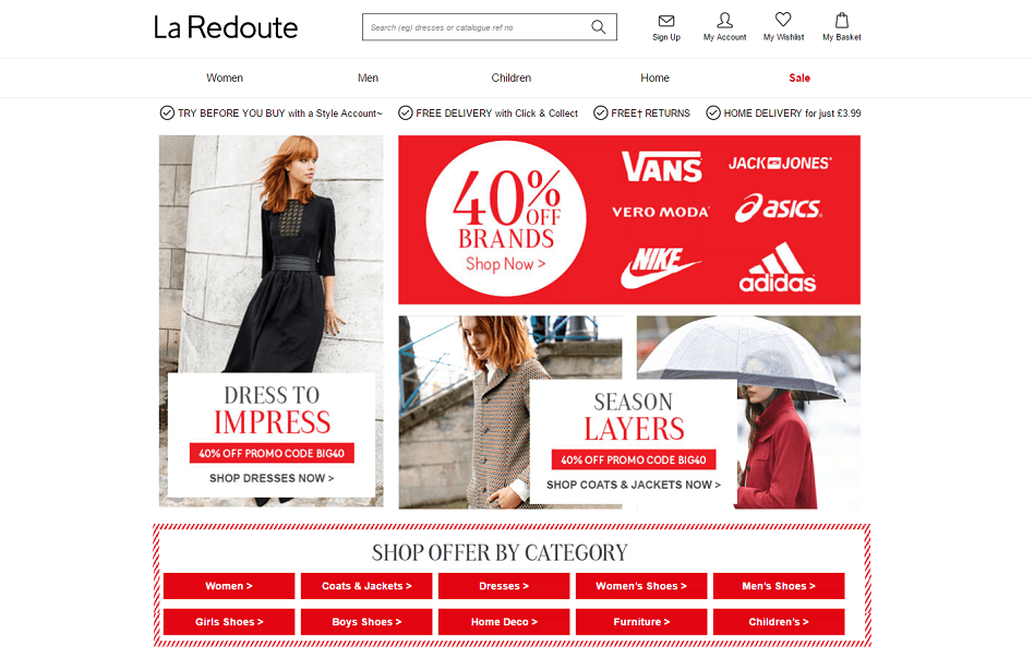 La Redoute Homepage Screenshot