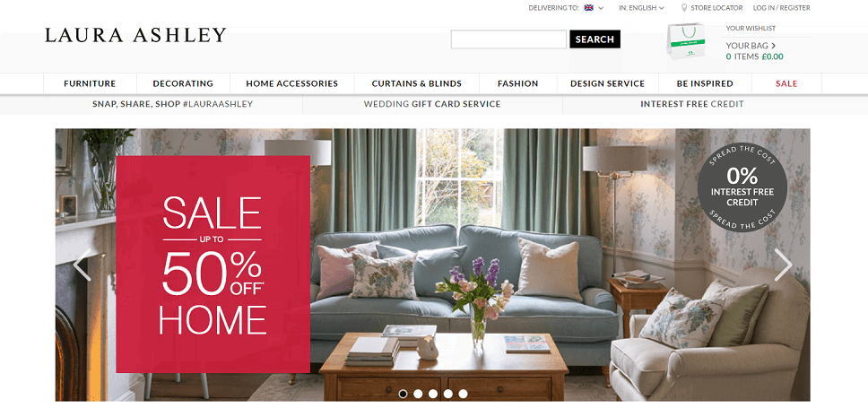 Laura Ashley Homepage Screenshot