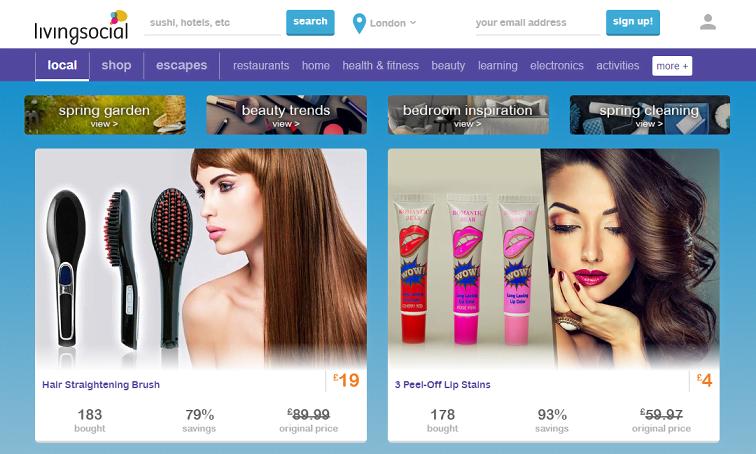 Livingsocial Homepage Screenshot