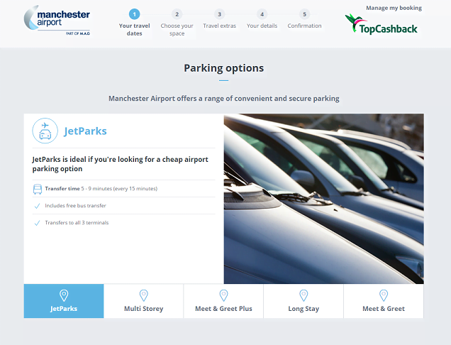 Manchester Airport Parking Homepage Screenshot