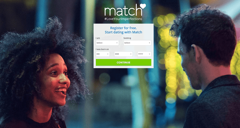 Match.com Dating Homepage Screenshot