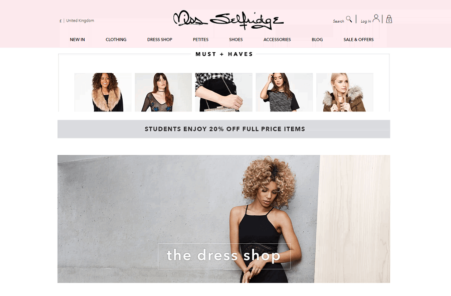 Miss Selfridge Homepage Screenshot