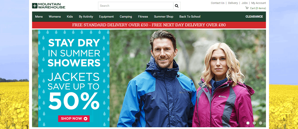 Mountain Warehouse Homepage Screenshot