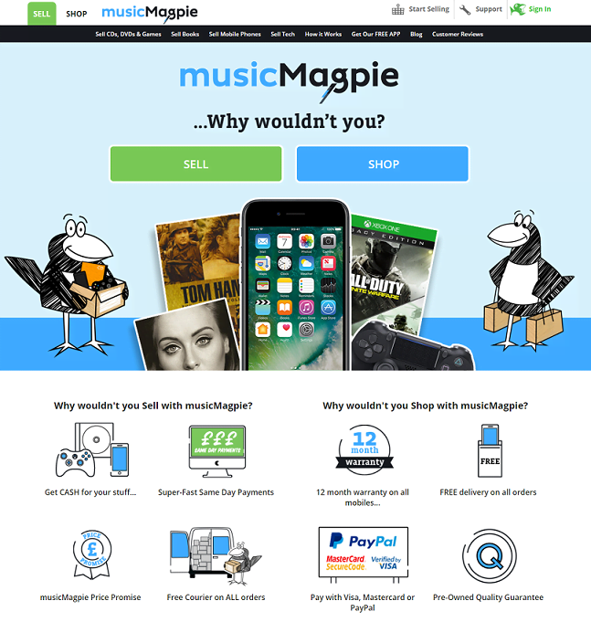 musicMagpie Homepage Screenshot