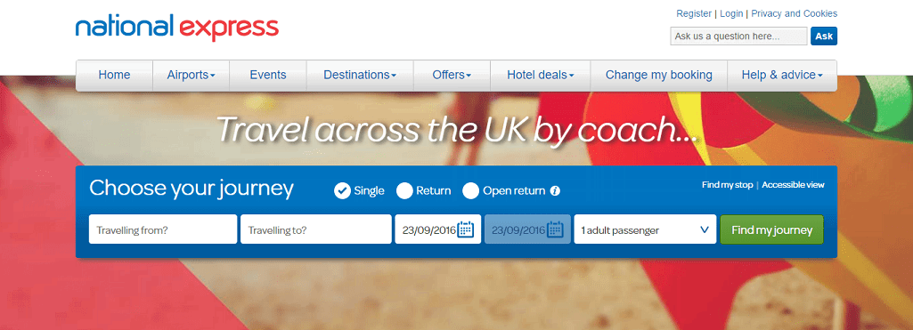 National Express Homepage Screenshot
