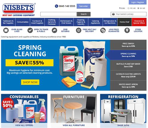 Nisbets Catering Supplies Homepage Screenshot