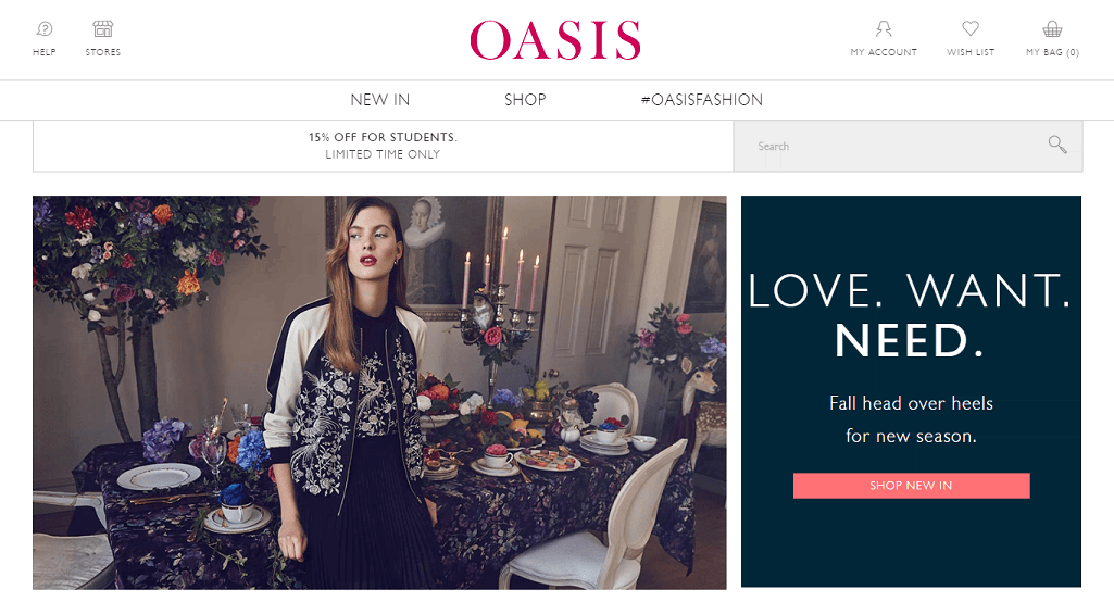 Oasis Homepage Screenshot