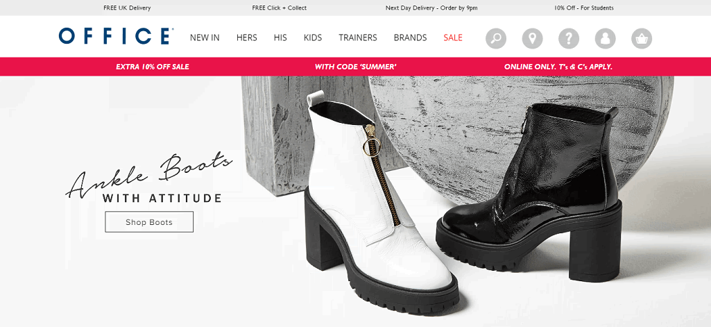 Office Shoes Homepage Screenshot