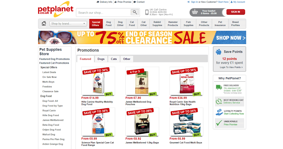 Petplanet Homepage Screenshot